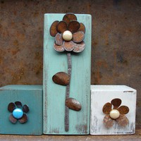 Rustic Metal Flower on Aqua Block Farm Cottage by baconsquarefarm
