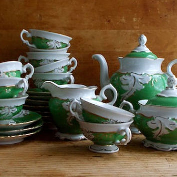 Vintage Green Coffee Service Set for Ten - Demitasse Coffee Pot, Cups, Sugar, and Creamer - Cottage Decor