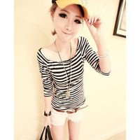 Black Cotton Women Striped T-shirt@XYZ9711b