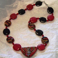 Kazuri red and black necklace
