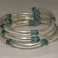 Crystal and tubes bracelet, Light turquoise