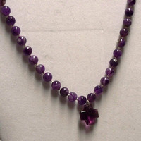 Knotted amethyst and crystal cross necklace