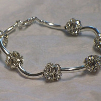 Rhinestone and tubes bracelet, Crystal