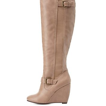 Elastic-Gored Wedge Boots by Charlotte Russe - Taupe