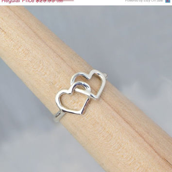 CYBER MONDAY SALE Sterling Silver Double Heart Ring - Intertwined Heart Ring - Two Heart Ring - Silver Ring - Sterling Ring - Heart Jewelry