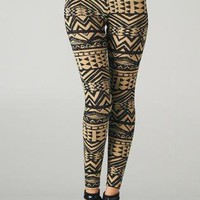 Khaki and Black Tribal Print Leggings