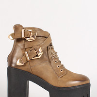 Two-Tone Buckle Lug Sole Platform Military Lace Up Bootie