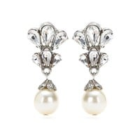 ben-amun - crystal cluster pearl drop earrings