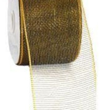4in Wide x 75ft Long Poly Mesh Roll: Plain Black/ Gold