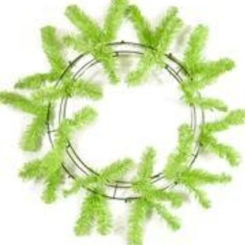 46 Tips Lime Green Elevated Work Wreath Form