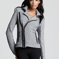 Aqua Luxe Jacket - Knit Tweed Leather Trim Moto - New Arrivals - Boutiques - Women's - Bloomingdale's