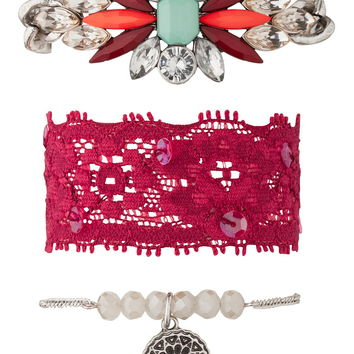 Lace and statement bracelet trio