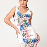 Floral Print Bodycon Sleeveless Dress with Cutout Back
