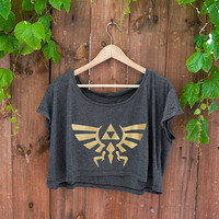 Hyrule Crest/Triforce from Legend of Zelda - Loose Crop Tee in Almost Black - One Size - Made to Order