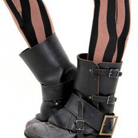 Black leather vintage gaiters