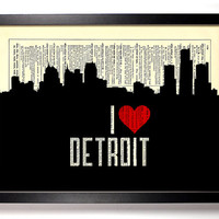 I Love Detroit, Michigan City Skyline Dictionary Book Print Upcycled Art Upcycled Vintage Print Antique Dictionary Buy 2 Get 1 FREE