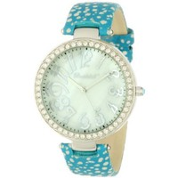 Bombshell Women's BS1005TU Lexi Fashionable Turquoise Strap Crystal Case Watch - designer shoes, handbags, jewelry, watches, and fashion accessories | endless.com