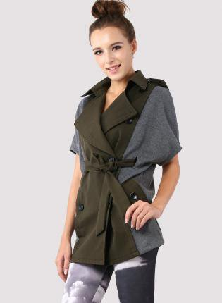 Green and Grey Trench Cape Coat with Waist Belt