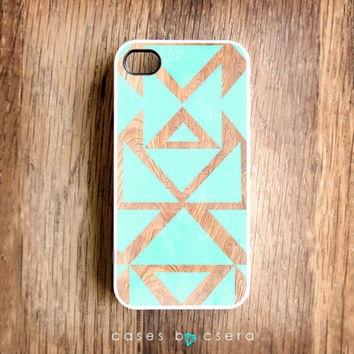 Unique iPhone Case Wood iPhone 4 Case Mint Color iPhone 4S Case Snap on Case Cell Phone Case Modern Aztec iPhone 4 Case Design iPhone 4 Case