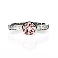 18k White gold, Morganite engagement ring, Diamond ring, Bezel, Solitaire, Pink Ring, Engagement ring, Morganite, Diamond engagement, unique