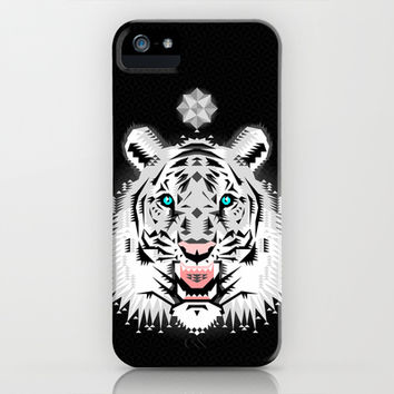 Silver Geometric Tiger iPhone & iPod Case by Chobopop