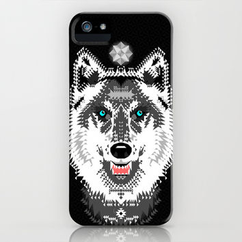 Silver Wolf Geometric iPhone & iPod Case by Chobopop