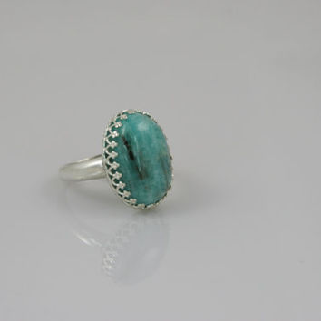 Colorado Amazonite Cabochon Ring in Sterling Silver -- Product R010