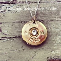 Gold Crystal 12 Gauge Shotgun Shell Sterling Silver Necklace
