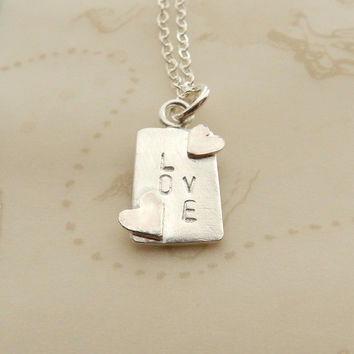 Love Charm Necklace Sterling Silver Simple Square Necklace with Hearts Stamped jewelry