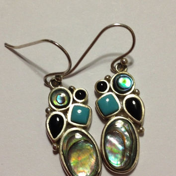 ON SALE Turquoise Abalone Sterling Earrings Onyx 925 Silver Blue Black Vintage Jewelry Southwestern Shell Christmas Birthday Holiday Xmas Bo