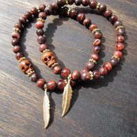 Red Tigers Eye & Gold Feather Lovers Bracelet // Jewelry