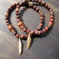 Red Tigers Eye &amp; Gold Feather Lovers Bracelet // Jewelry