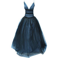 Deep plunge prom dress covered in organza and diamantes - Polyvore