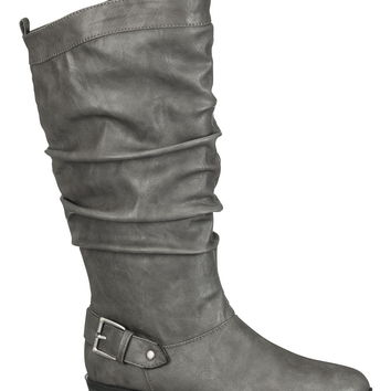 Gray Valerie slouch boot with buckle