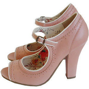 PLASTICLAND - Vintage Inspired Georgia Peach Peep-Toe Pumps - Polyvore