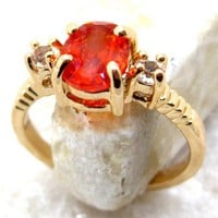 Vintage Spessarite Orange Garnet Ring Size 5