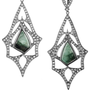 Loree Rodkin|Teardrop 18-karat rhodium white gold, diamond and emerald earrings|NET-A-PORTER.COM