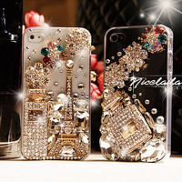 Chanel iPhone 4 case Chanel iPhone 4S case Crystal iPhone 4 case Bling iphone 4s case flower iphone case perfume iphone 4 case
