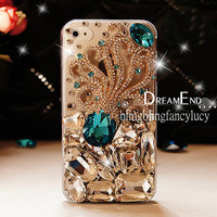 Bling iPhone case - iPhone 4 case - iPhone 4s Case - Blue Diamond Octopus Bling iPhone 4 case Unique iphone case Clear iphone 4 cover