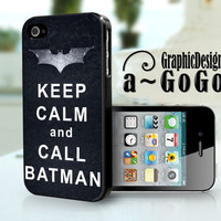 iPhone 4 Case Keep Calm and Call Batman, The Dark Knight Rises, custom cell phone case
