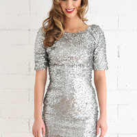 Patricia Silver Sequin Dress