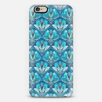 Art Deco Lotus Rising - black, teal & turquoise pattern iPhone 6 case by Micklyn Le Feuvre | Casetify