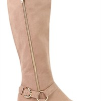 Over the Knee Tall Riding Boot with Side Zipper and Strap