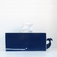 RESERVED - Whale Tissue Holder - Navy Blue