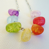 Rainbow Glass Jelly Beans Silver Necklace, Frosted Crackle Glass