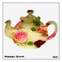 Pretty Flowers Tea Pot Wall Decal from Zazzle.com