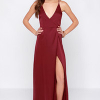 LULUS Exclusive Long Answer Wine Red Wrap Maxi Dress