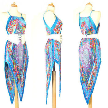 Vintage Summer Dress - 90's - Blue Paisley - Beach Cover Up