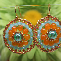 Mexican Sun Flower Golden Orange Blue Beaded Earrings