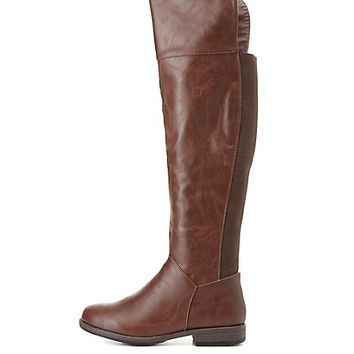 Bamboo Stretchy Flat Over-the-Knee Boots by Charlotte Russe - Brown